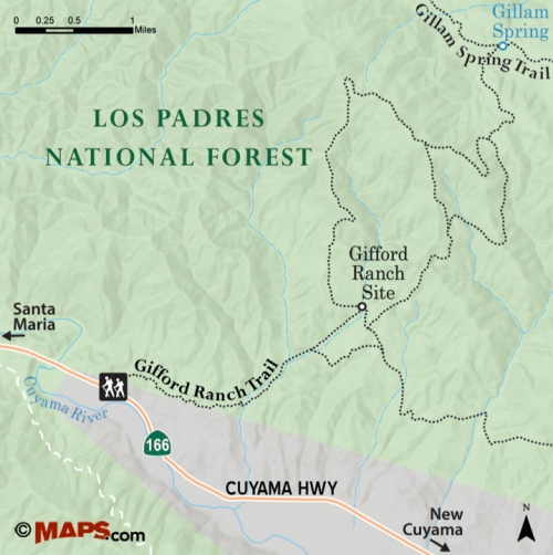 Gifford Ranch Trail map Los Padres National Forest Gillam Spring Highway 166 New Cuyama hike