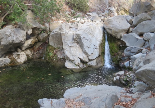 Waterfall pool Manzana Narrows Camp trail creek hiking backpacking san rafael wilderness los padres national forest