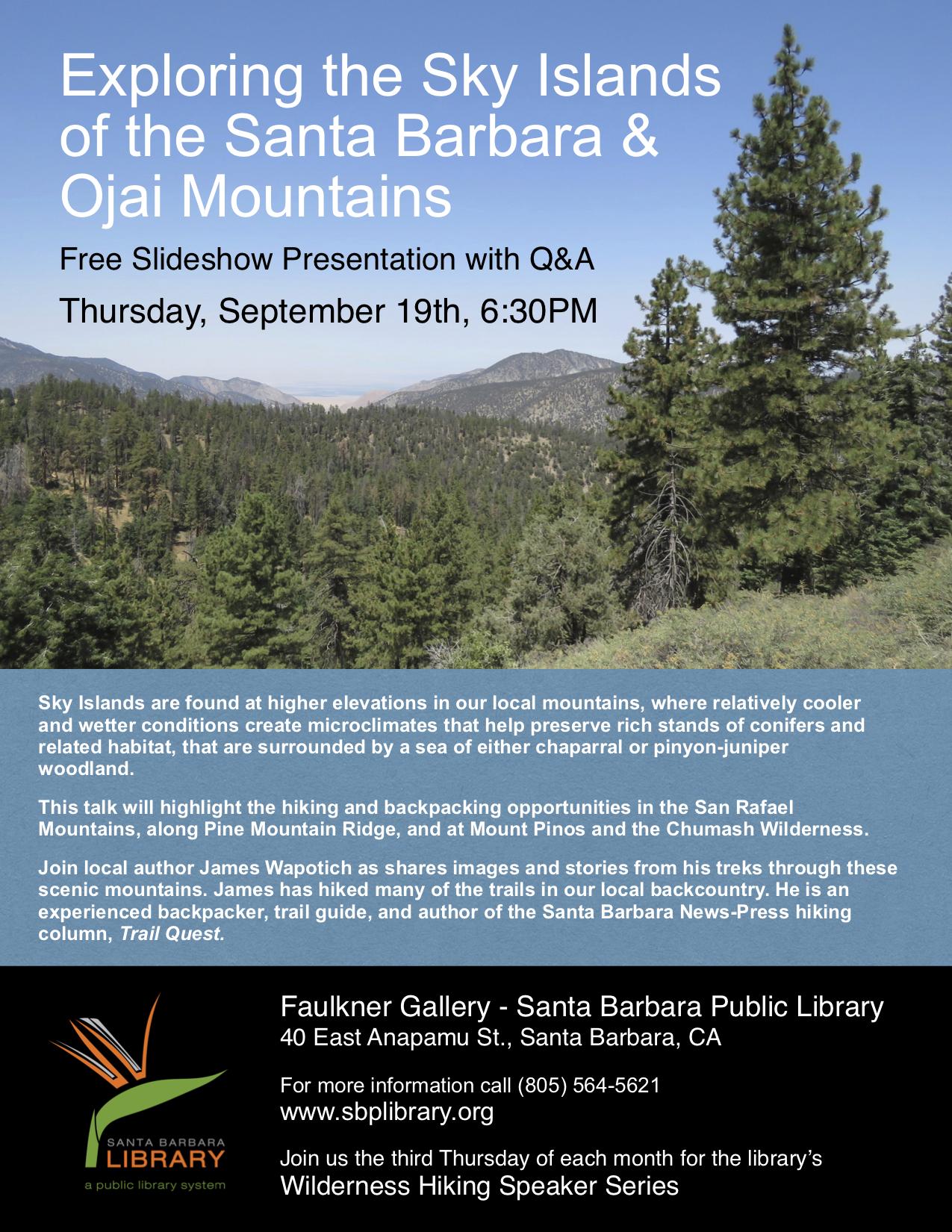 Sky Islands Los Padres National Forest San Rafael Mountains Big Pine Pine Mountain Ridge Reyes Peak Mount Pinos conifers