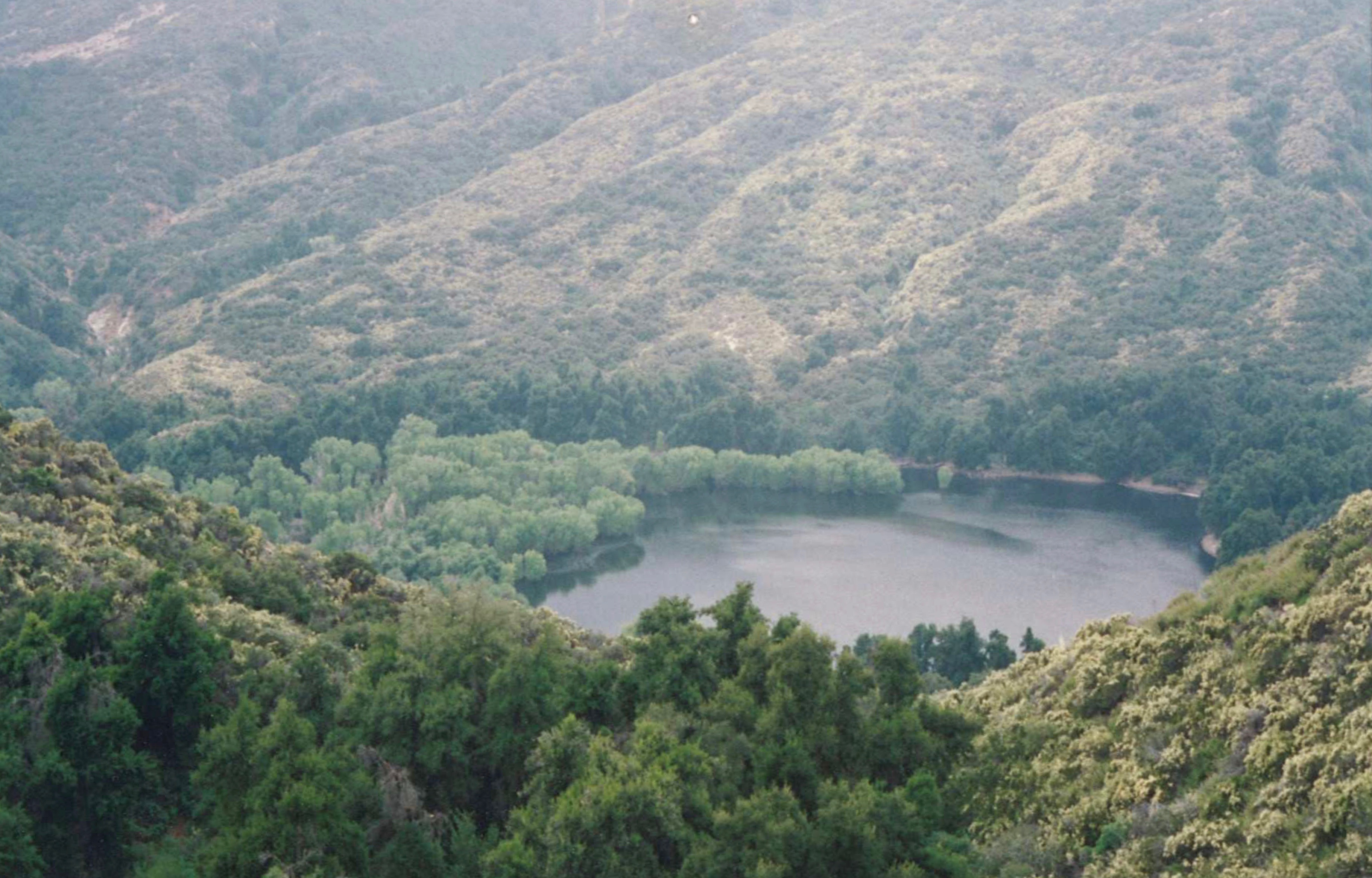 The Pothole Lake filled will water sespe wilderness los padres national forest