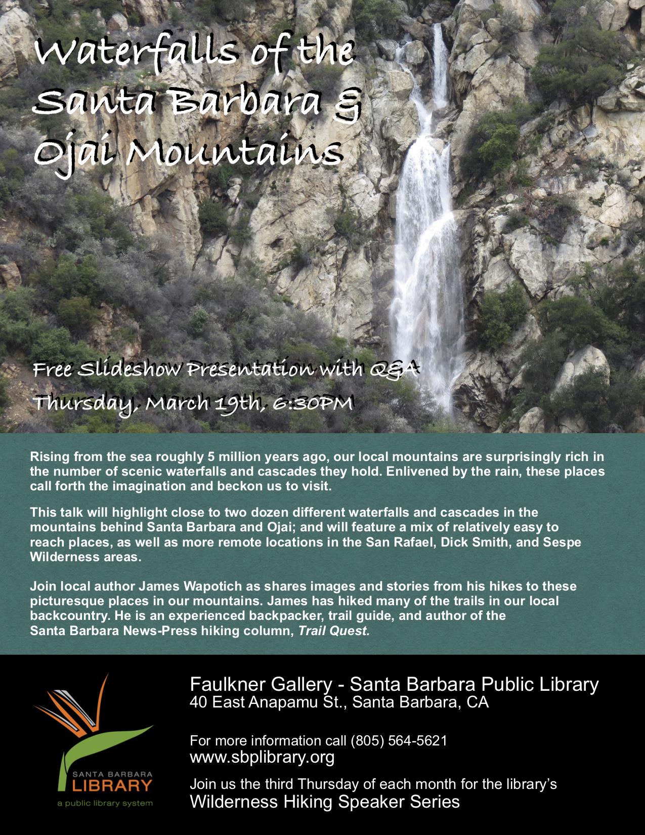 Waterfalls Cascades Santa Barbara Ojai Santa Ynez Mountains San Rafael Wilderness Dick Smith Sespe hike trail los padres national forest